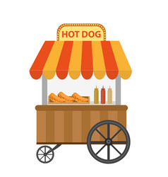 Hot dog street shop cart icon flat cartoon vector