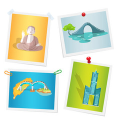 images with taiwanese attractions attached to wall vector image