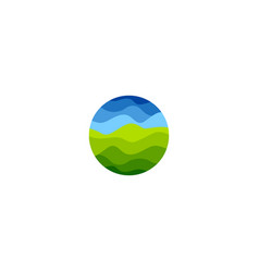 Isolated abstract green and blue color round shape vector