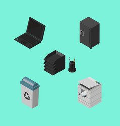 isometric office set of strongbox garbage vector image