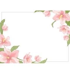 Magnolia sakura hellebore corner frame horizontal vector image vector image