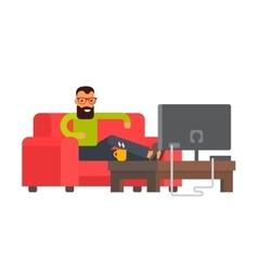 Man sitting on sofa watching tv at home flat vector