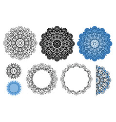 Mandala collection in black and blue colors vector