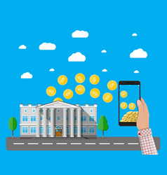 mobile phone with gold coins and bank building vector image