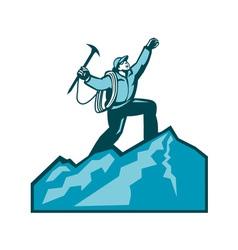 Mountain climber summit retro vector