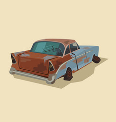 old rusty broken car vector image vector image
