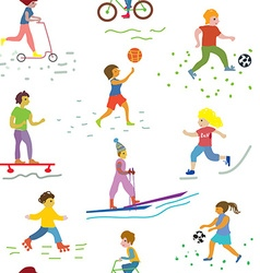 People and sport seamless pattern - funny vector image vector image