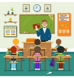School classroom with schoolchild pupils and vector image vector image