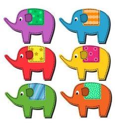 Set of multi-colored elephants vector