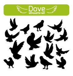 Silhouettes of doves vector