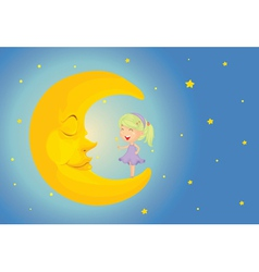 sleeping moon vector image