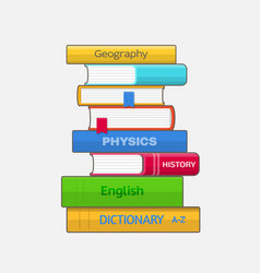 Stack of colored textbooks on white background vector