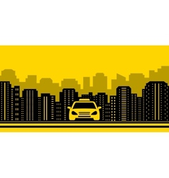 Taxi background with city landscaping vector