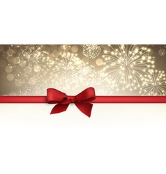 Winter banner with red bow vector image vector image
