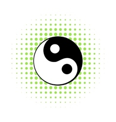 Ying yang icon comics style vector