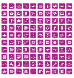 100 dialog icons set grunge pink vector