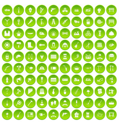 100 tools icons set green vector