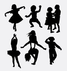 Kid playing activity silhouette vector