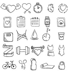 Set of hand drawn healthy lifestyle icons set set vector
