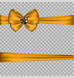 golden bow decoration with horizontal ribbons on vector image