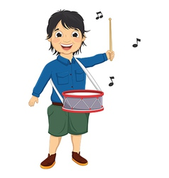 Of a little boy playing drum vector