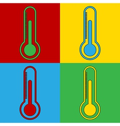 Pop art thermometer icons vector