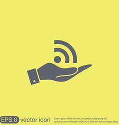 Hand holding a rss symbol character news vector