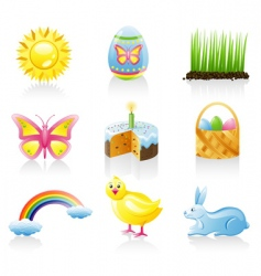Easter icon set vector