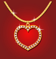 Golden necklace with brilliants vector