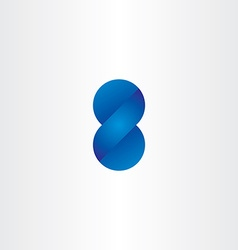 Blue logo 3d effect number eight vector