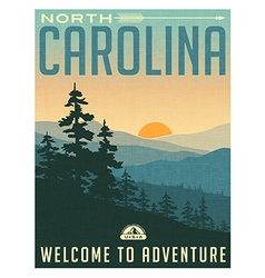 Retro style travel poster north carolina vector