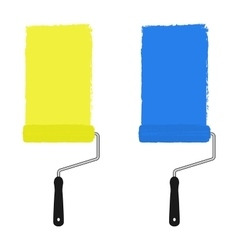 Yellow and blue paint rollers vector