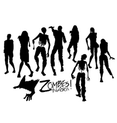Zombie silhouettes walking forward vector
