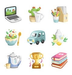 Colorful miscellaneous icons collection vector