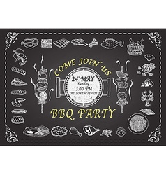 Bbq party on chalkboard vector