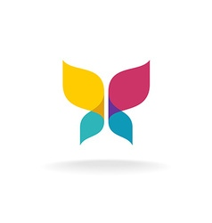 Colorful butterfly logo overlay transparent sheets vector