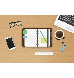 Realistic work desk organization top view with vector