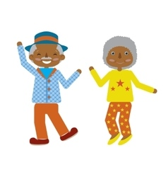 Flat cartoonof elderly couple dancing fuuny vector