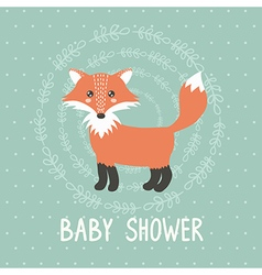 Baby shower card with a cute fox vector