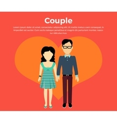 Couple in love banner flat design vector