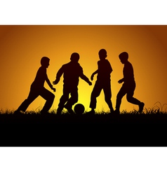 Four boys and football vector