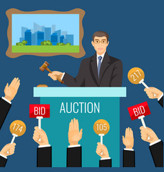 Auction process with man holding wooden gavel vector