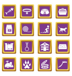 Cat care tools icons set purple vector