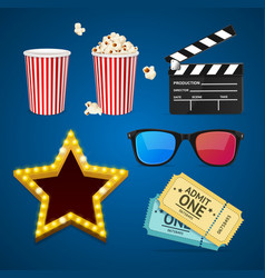 cinema icon realistic objects set vector image vector image