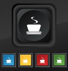 Coffee tea icon symbol set of five colorful vector