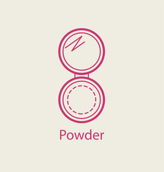 Cosmetic open compact powder thin line icon vector