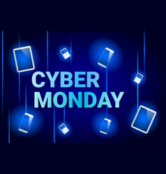 Cyber monday sale banner with digital tablets on vector