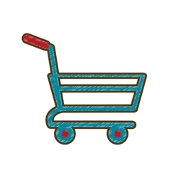 Drawing shopping cart online delivery market vector