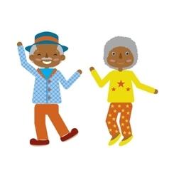 Flat cartoonof elderly couple dancing fuuny vector