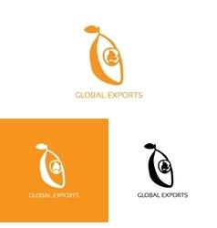 Fresh fruit with globe logo vector